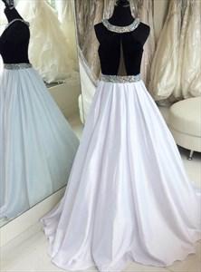 A Line White Halter Neck Sleeveless Beaded Satin Long Prom Dress