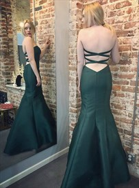Emerald Green Strapless Cross Back Sheath Mermaid Satin Prom Dress