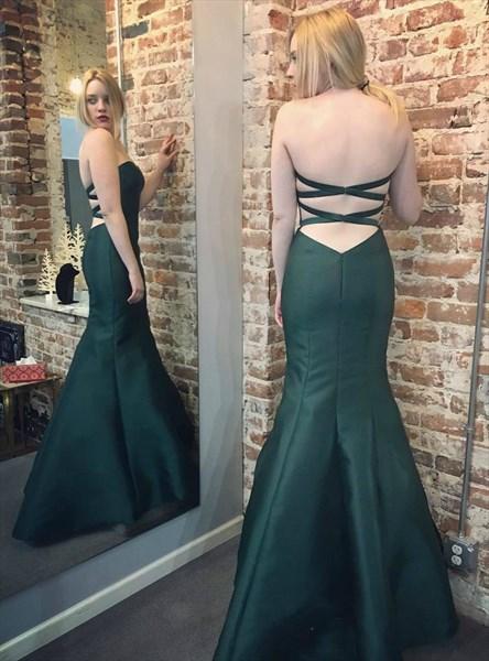 Emerald Green Strapless Cross Back Sheath Mermaid Satin Prom Dress