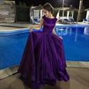 Purple Bateau Neck Cap Sleeve Scoop Back Long Satin Prom Dress