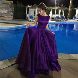 Purple Bateau Neck Cap Sleeve Scoop Back Long Satin Prom Dress