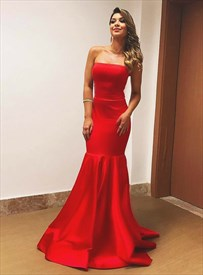 Simple Red Strapless Sleeveless Floor Length Sheath Prom Dress