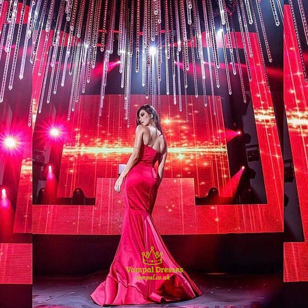 Simple Red Strapless Sleeveless Floor Length Sheath Prom Dress