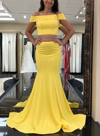 Yellow Off The Shoulder Sleeveless Satin Mermaid Two Piece Prom Dress