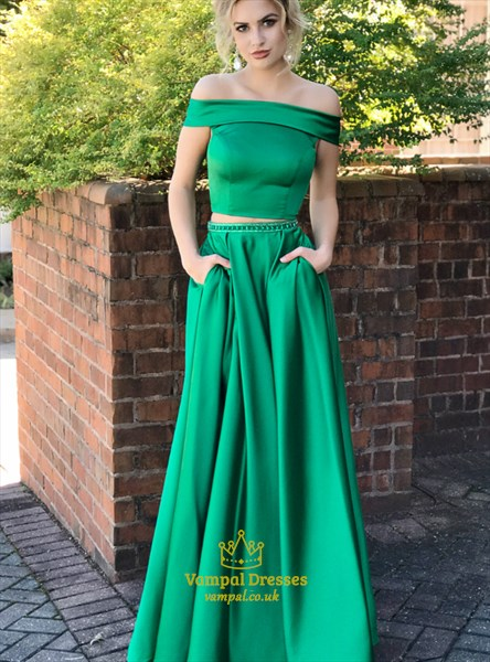 A Line Off The Shoulder Beaded Two Piece Prom Dress With Pockets
