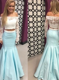 Princess Baby Blue Long Sleeve Sheath Mermaid Satin Prom Dress