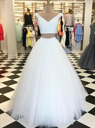 A Line White V Neck Beaded Sleeveless Tulle Two Piece Prom Dress