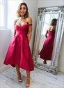 Red Off The Shoulder Tea Length Satin Prom Dresses With Pockets