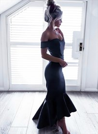 Navy Blue Off The Shoulder Short Sleeve Sheath Mermaid Prom Dress