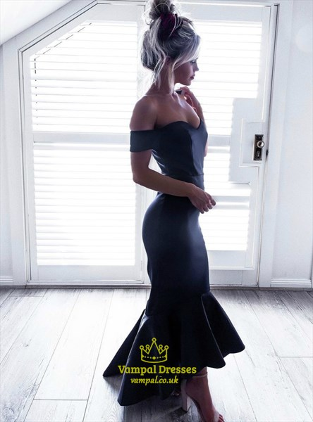 Navy Blue Off The Shoulder Short Sleeve Sheath Mermaid Prom Dress