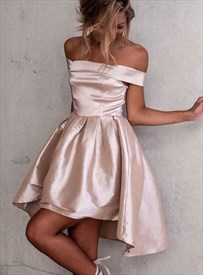 Pink Off The Shoulder Sleeveless Pleated Satin Short Prom Dress