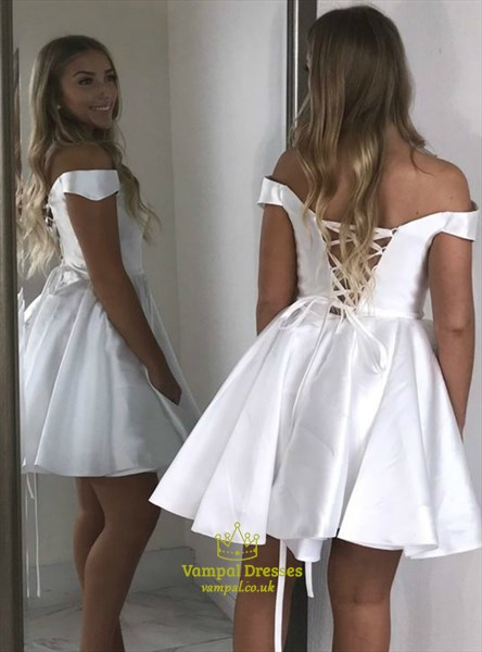 Simple A Line White Sleeveless Taffeta Short Prom Dress With Lace Up