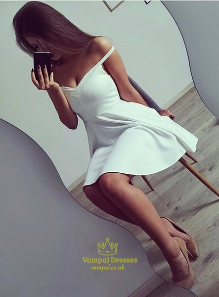 White A Line Off The Shoulder Satin Short Prom Dress With Lace