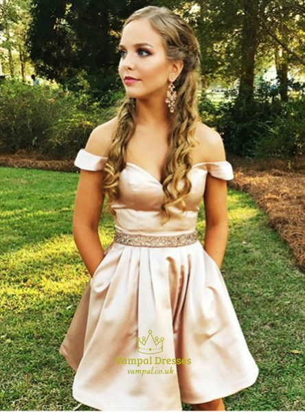 A Line Pink Sleeveless Beaded Short Homecoming Dress With Pockets