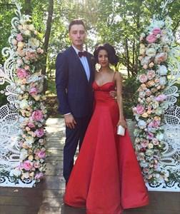 Elegant Red Spaghetti Strap Sleeveless Floor Length Satin Prom Dress