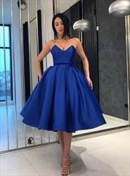 Elegant Royal Blue Sweetheart Criss Cross Back Ball Gown Short Dress