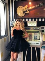 Black Strapless Sleeveless Short Organza Ball Gown Homecoming Dress