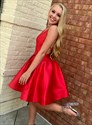 Simple A Line Red V Neck Criss Cross Back Satin Short Prom Dress