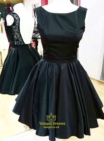 Black Bateau Neck Backless Satin Short Dress With Lace And Pleats