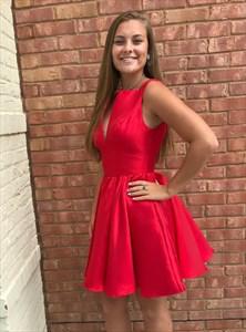 A Line Red V Neck Sleeveless Keyhole Short Homecoming Dresses