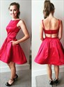 Red Bateau Neck Sleeveless Satin Short Homecoming Dress With Pockets