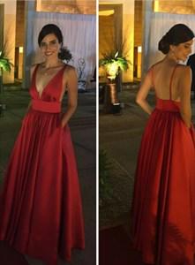 Red Deep V Neck Sleeveless Pleated Satin Prom Dress With Pockets