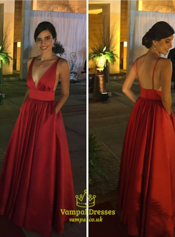Red Deep V Neck Sleeveless Pleated Satin Prom Dress With