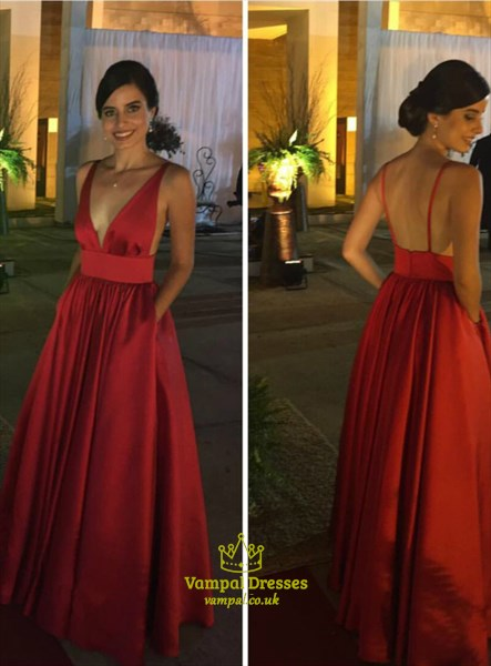 Red Deep V Neck Sleeveless Pleated Satin Prom Dress With Pockets