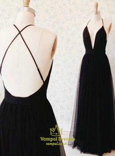A Line Black Deep V Neck Cross Back Floor Length Tulle Prom Dresses