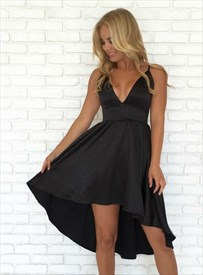 A Line Black V Neck Sleeveless Satin High Low Short Homecoming Dress
