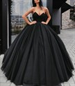 Elegant Black Sweetheart Sleeveless Tulle Ball Gown Long Prom Dress