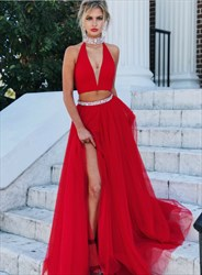 Red Halter Neck Sleeveless Beaded Two Piece Prom Dress With Split