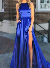 Royal Blue High Neck Cut Out Back Satin Long Prom Dress With Split