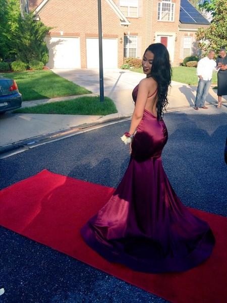 Burgundy V Neck Sleeveless Backless Mermaid Prom Dress With Train