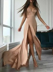 Champagne A Line Spaghetti Strap V Neck Long Prom Dress With Split