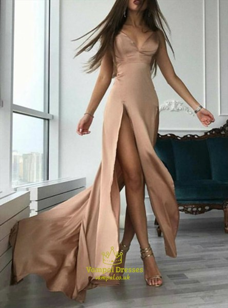 Champagne A Line Spaghetti Strap V Neck Long Prom Dress With Split
