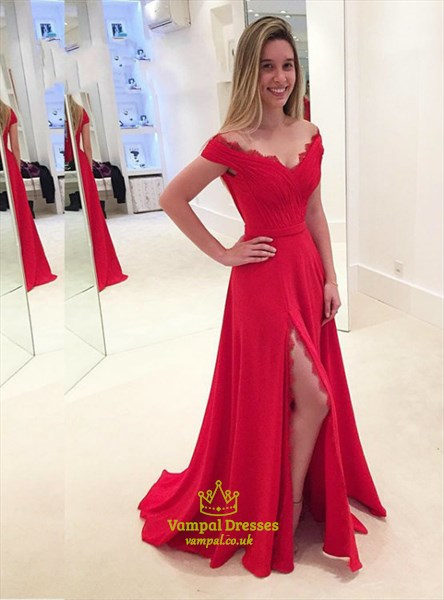 Red Off The Shoulder Cap Sleeve Ruched Satin Long Prom Dress