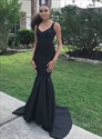 Black V Neck Sleeveless Cut Out Back Mermaid Prom Dress With Train