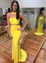 Elegant Yellow High Neck Floor Length Sheath Prom Dresses With Train
