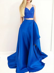 Royal Blue Spaghetti Strap Beading Two Piece Prom Dress With Split
