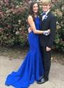 Bateau Neck Sleeveless Cut Out Back Satin Mermaid Long Prom Dress