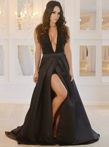 A Line Deep V Neck Beaded Taffeta Prom Dress With Slits And Train