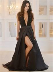 A Line Deep V Neck Beaded Taffeta Prom Dress With Slits And Train