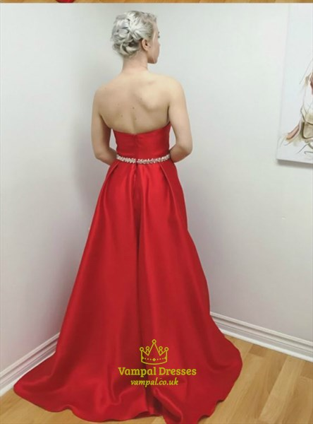Elegant Red Sweetheart Sleeveless Taffeta Prom Dress With Belt