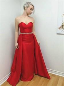 Elegant Red Sweetheart Sleeveless Taffeta Prom Dress With Belt