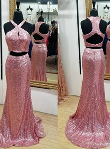 Pink Cross Neck Keyhole Sequin Two Piece Prom Dress With Train