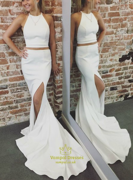 White Two Piece High Neck Sheath Mermaid Prom Dress With Split