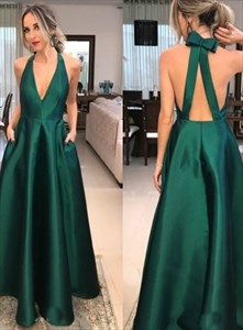 A Line Emerald Green V Neck Satin Prom Dress With Bow And Pockets