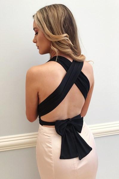 Pink Deep V Neck Sleeveless Cross Back Long Sheath Satin Prom Dress