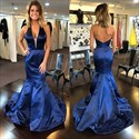Royal Blue Halter Neck Sleeveless Sheath Mermaid Taffeta Prom Dress